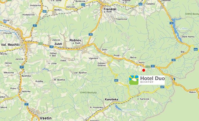 Mapa umístění Hotelu Duo, Horní Bečva, Beskydy