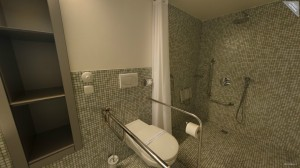 Room Lux, wheelchair accessible bathroom.